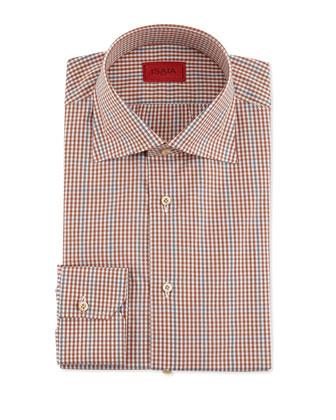Windowpane and Check Shirt, Rust/Gray