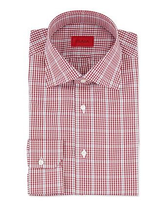 Check Cotton Dress Shirt, Berry/Gray