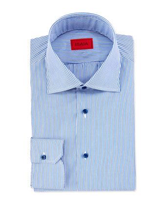 Mini-Bengal Stripe Dress Shirt, Blue/White