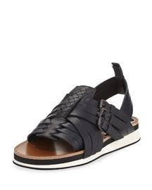 Huarache Woven Calfskin Sandal, Navy