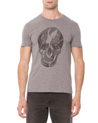 Plaid-Skull Jersey Tee, Gray