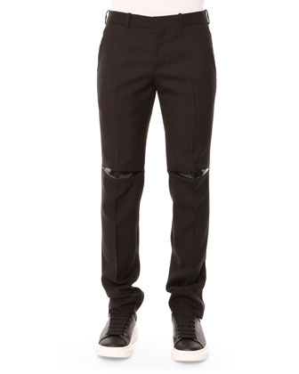 Rubber-Patch Wool Trousers, Black