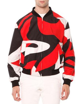 Kabuki-Print Bomber Jacket