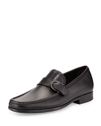 Navarro Smooth Calfskin Side Gancio Loafer, Black