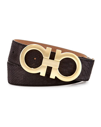 Python Double-Gancini Belt, Black