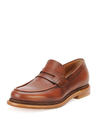Calfskin Penny Loafer w/Contrast Sole