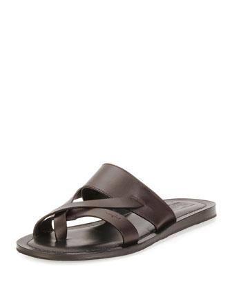 Nev Calfskin Toe Sandal, Brown