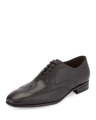 Leather Lace-Front Wing-Tip, Black