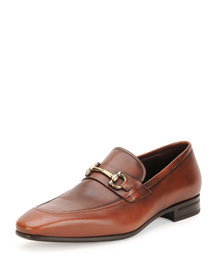 Nicolas Burnished Calfskin Gancini Loafer, Brown