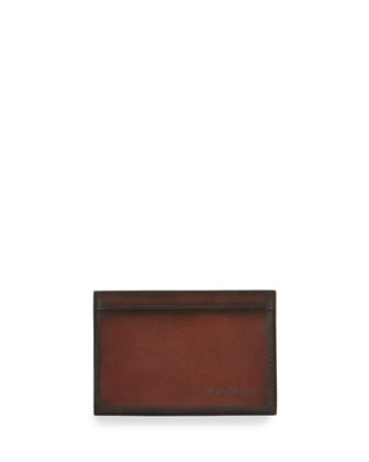 Nicos Hand Burnished Leather Card Case, Brown