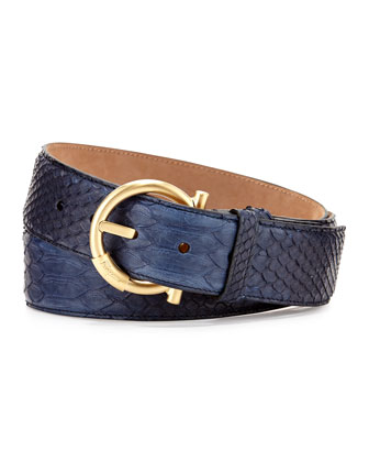 Python Dress-Buckle Belt, Denim