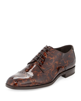 Prescott Turtle Patent Leather Lace-Up Shoe, Chocolate
