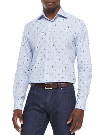Sealife-Print Fine-Striped Shirt, Blue/Multi