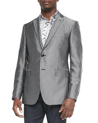 Square-Jacquard Evening Jacket