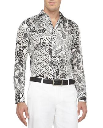Paisley-Print Sport Shirt, Black/White