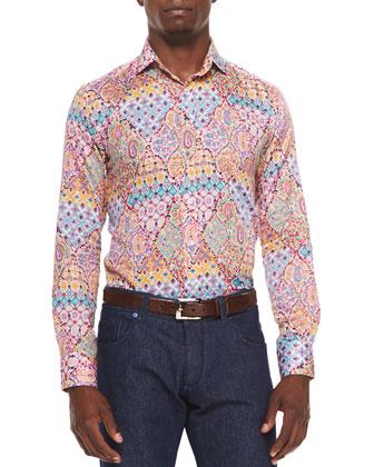 Woven Paisley Floral Print Sport Shirt, Multi