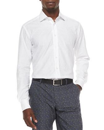 Tonal Paisley Jacquard Shirt, White