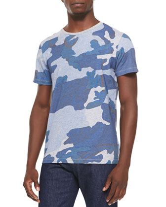 Short-Sleeve Camo-Print Tee, Blue