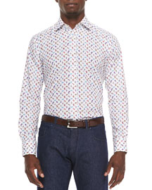 Small-Paisley Long-Sleeve Sport Shirt, Multi