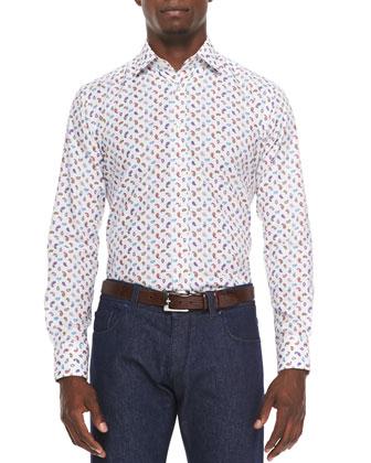 Small-Paisley Long-Sleeve Sport Shirt, Multi