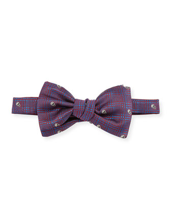 Prince of Wales Pre-Tied Skull-Print Bow Tie, Red/Blue