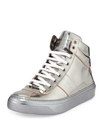 Belgrave Metallic High-Top Sneaker, Gunmetal