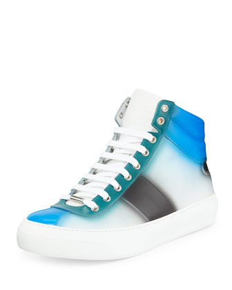 Belgrave Spray-Paint High-Top Sneaker, Blue