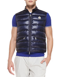 Gui Quilted Puffer Vest, Navy