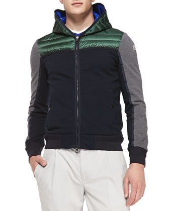 Tri-Color Quilted Hooded Jacket, Navy/Gray/Green