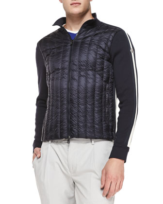 Vertical Quilted-Front Zip Jacket, Navy