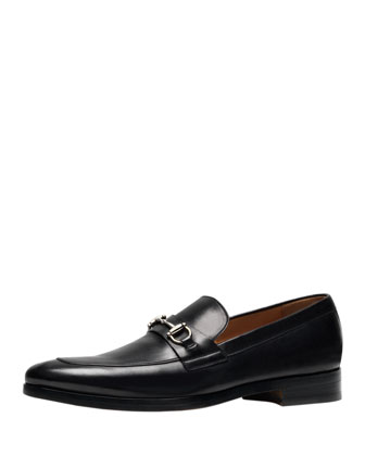 Shaded Leather Bit Loafer, Black