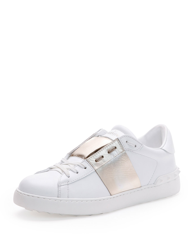 Valentino Low-Top Sneaker with Stripe, White/Gold, Men's, Size: 43EU/10D