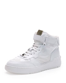 Rockstud Camo High-Top Sneaker, White