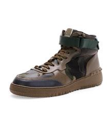 Rockstud Camo High-Top Sneaker, Army Green