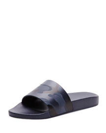 Camo Slip-On Sandal, Blue