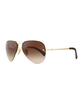 Semi-Rimless Aviator Sunglasses, Gold/Brown
