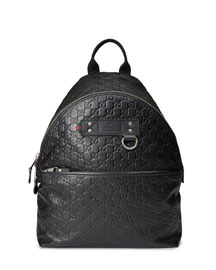 Guccissima Rubberized Leather Backpack, Blue