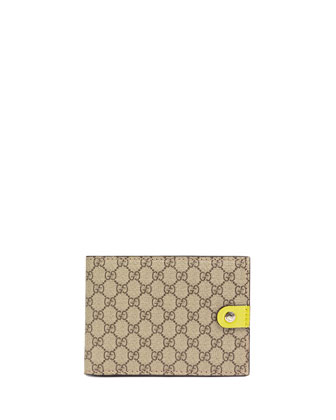 Micro GG Supreme Canvas Bi-Fold Wallet, Yellow