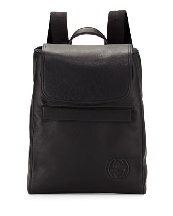 Soho Rubberized Leather Backpack, Black