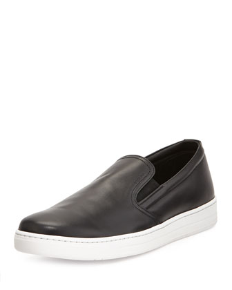 Leather Slip-On Sneaker, Black