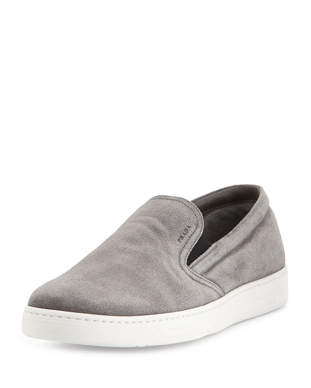 Prada Leather Slip-On Sneaker, Gray, Men's, Size: 6E7D, Grey/Black