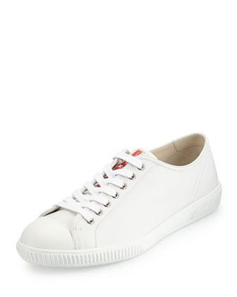 Cap-Toe Low-Top Sneaker, White