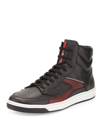 High-Top Zip-Side Sneaker, Black