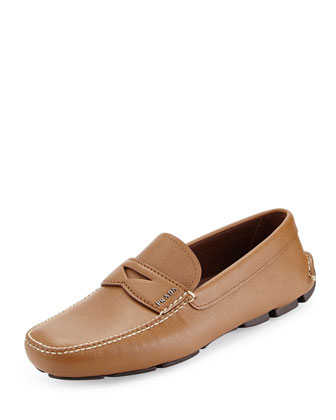 Leather Penny Driver, Light Brown