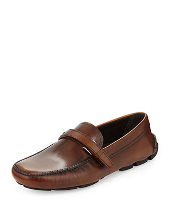 Leather Buckle-Strap Driver, Brown