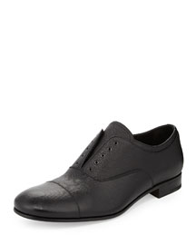 Leather Laceless Oxford, Black