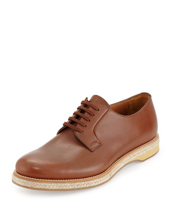 Leather Lace-Up Espadrille, Brown