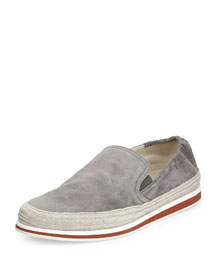 Suede Slip-On Espadrille, Gray