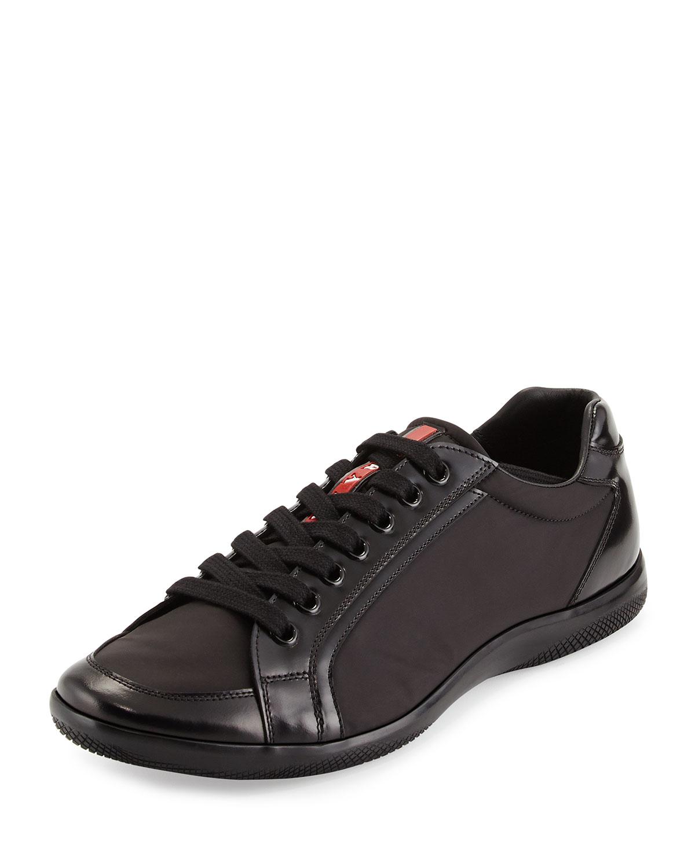 Prada Offshore Nylon Low-Top Sneaker, Black, Men's, Size: 9.5/10.5D