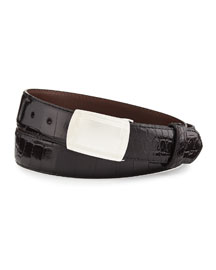Glazed Alligator Belt with Plaque Buckle, Black (Made to Order)
